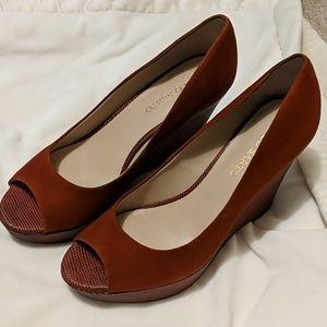Peeptoe wedge heels